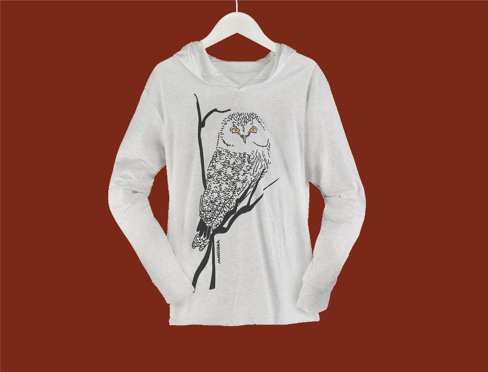 Owl With Yellow Eyes Hooded Tee