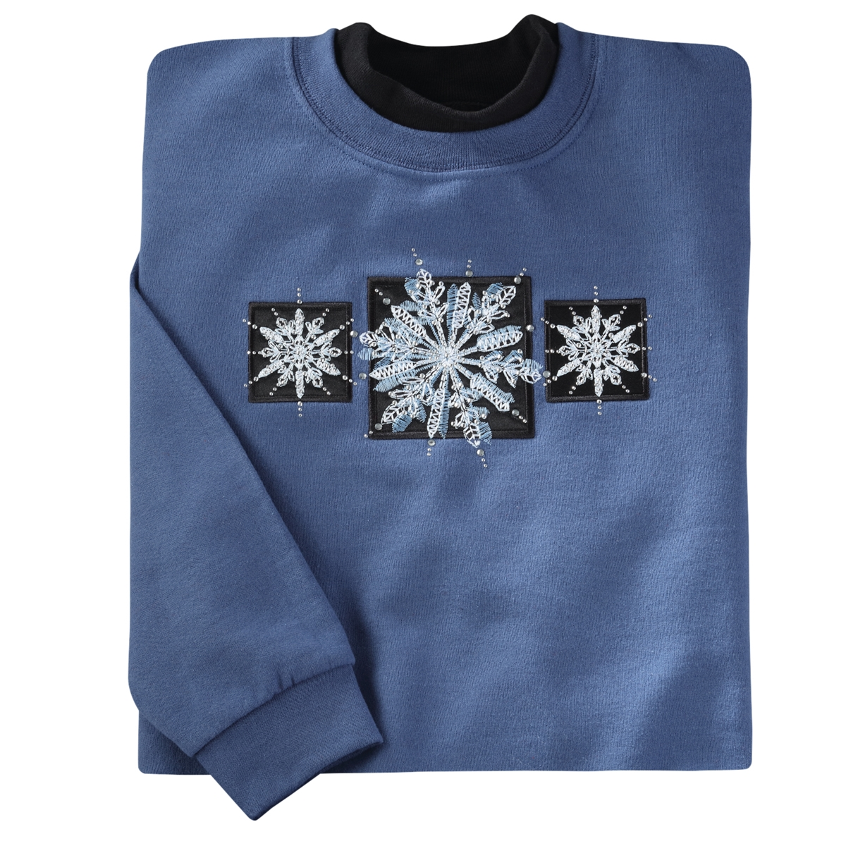 Elegant Snowflake Triptych Pullover