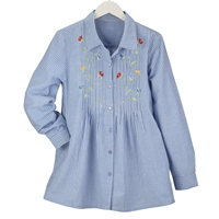 Blue Stripe Embroidered Floral Tunic
