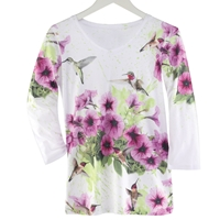 Hummingbird and Petunia Tee