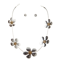 Floral Necklace and Earrings Set