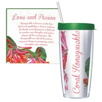 Coral Honeysuckle Travel Tumbler