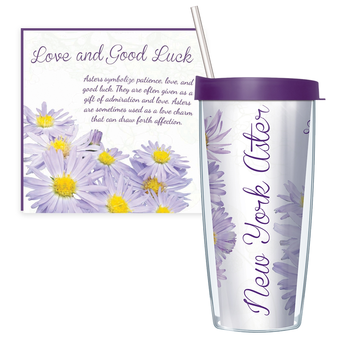 New York Aster Travel Tumbler