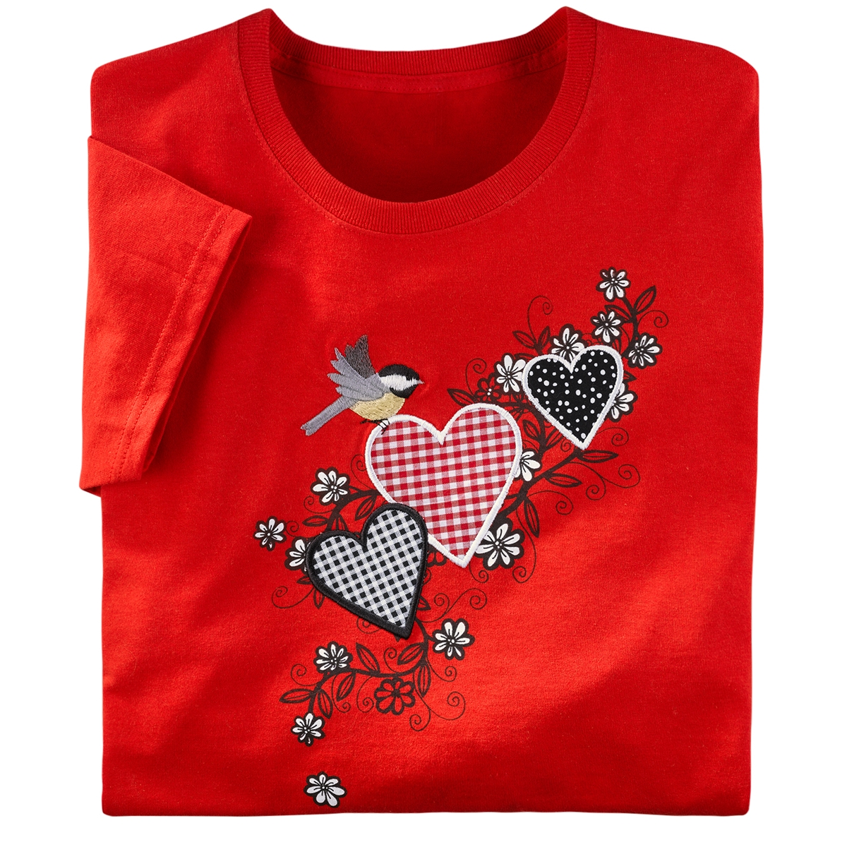 Chickadee and Hearts Tee