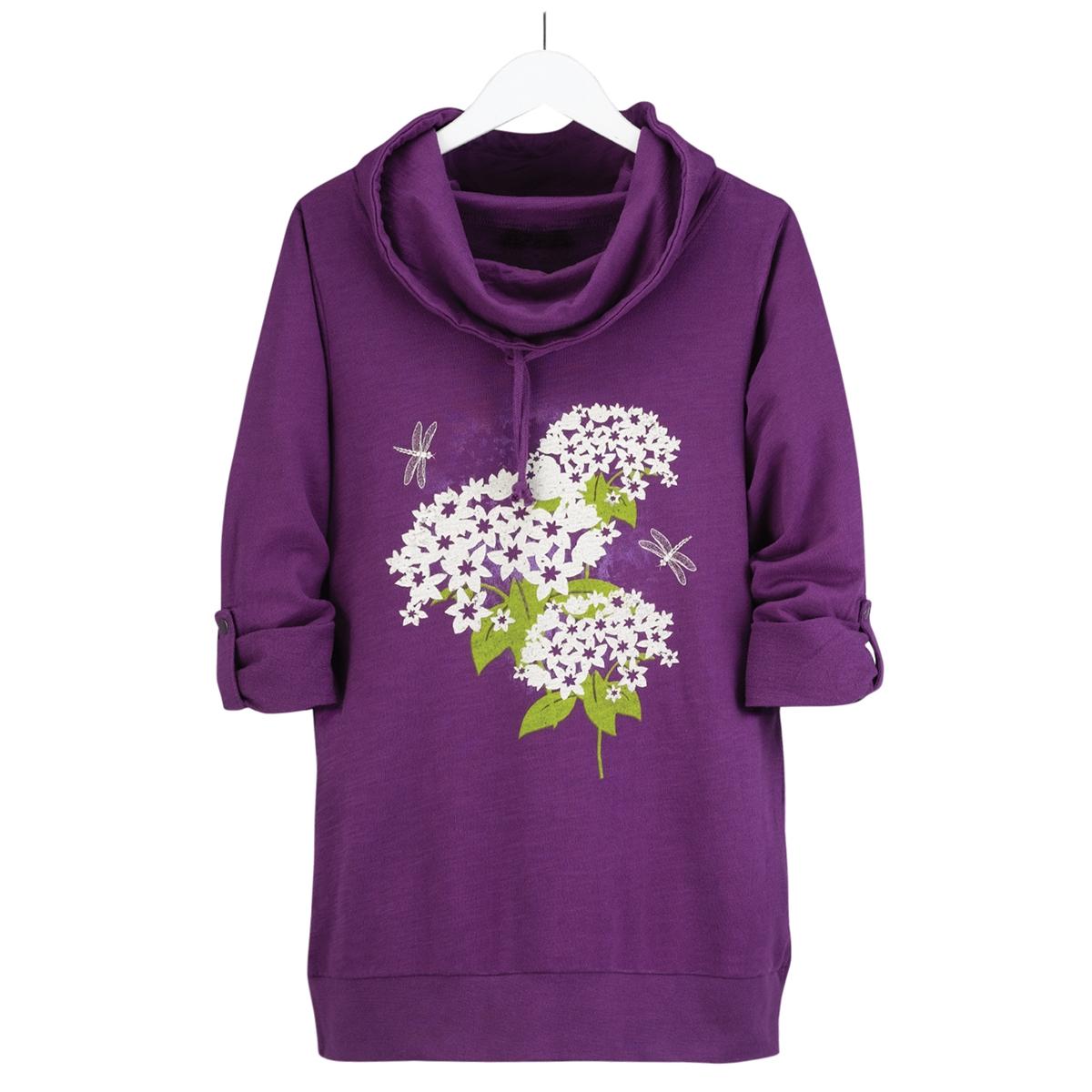 Purple Cowl Neck Pullover