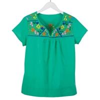 Embroidered Flower Neckline Green Tee