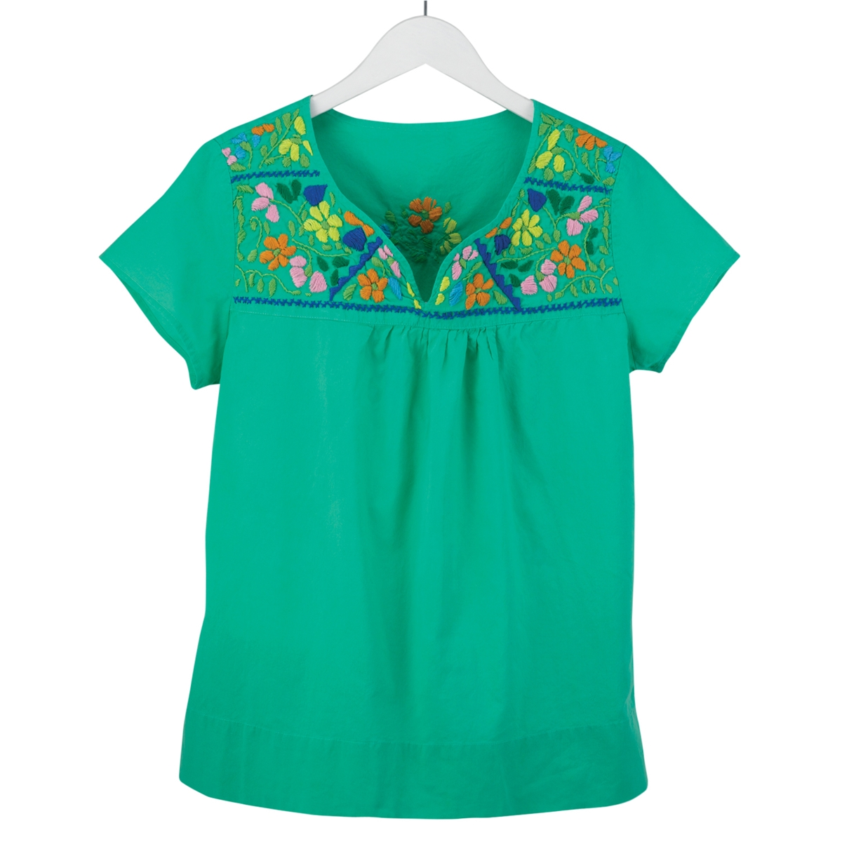 Embroidered Flower Neckline Green Tee