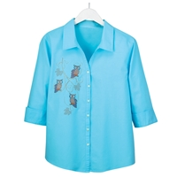 Whimsical Owl Button-Up Shirt
