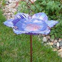 Iris Flower Stake Birdbath