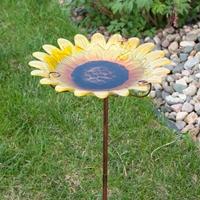 Sunflower Flower Stake Birdbath