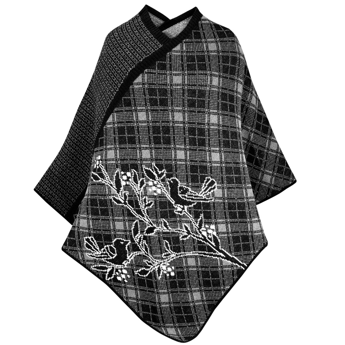 Bird Poncho in Black