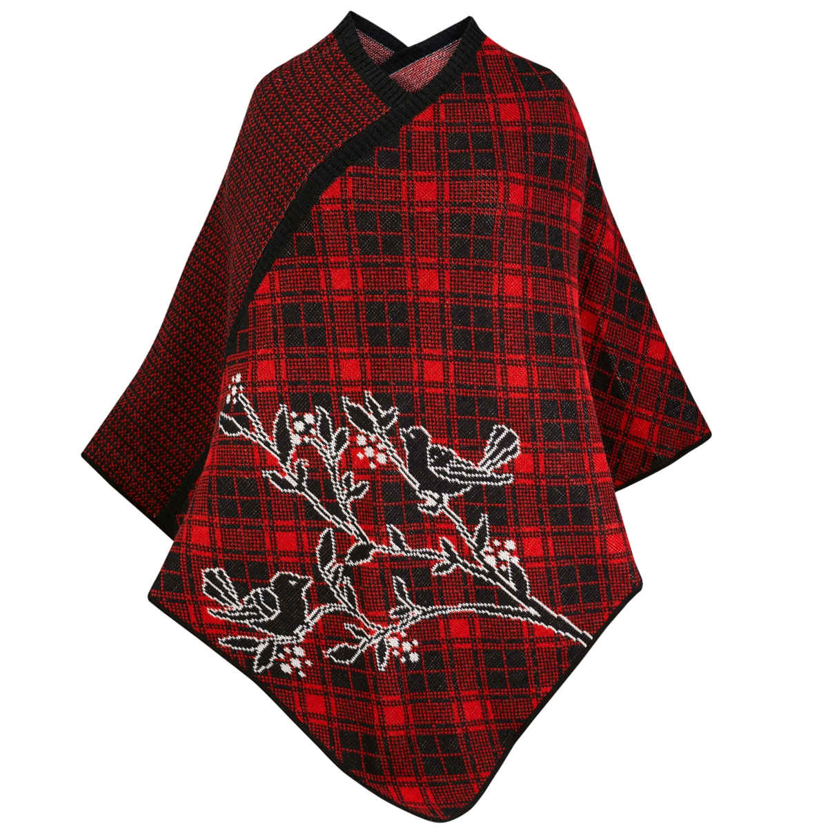 Bird Poncho in Red