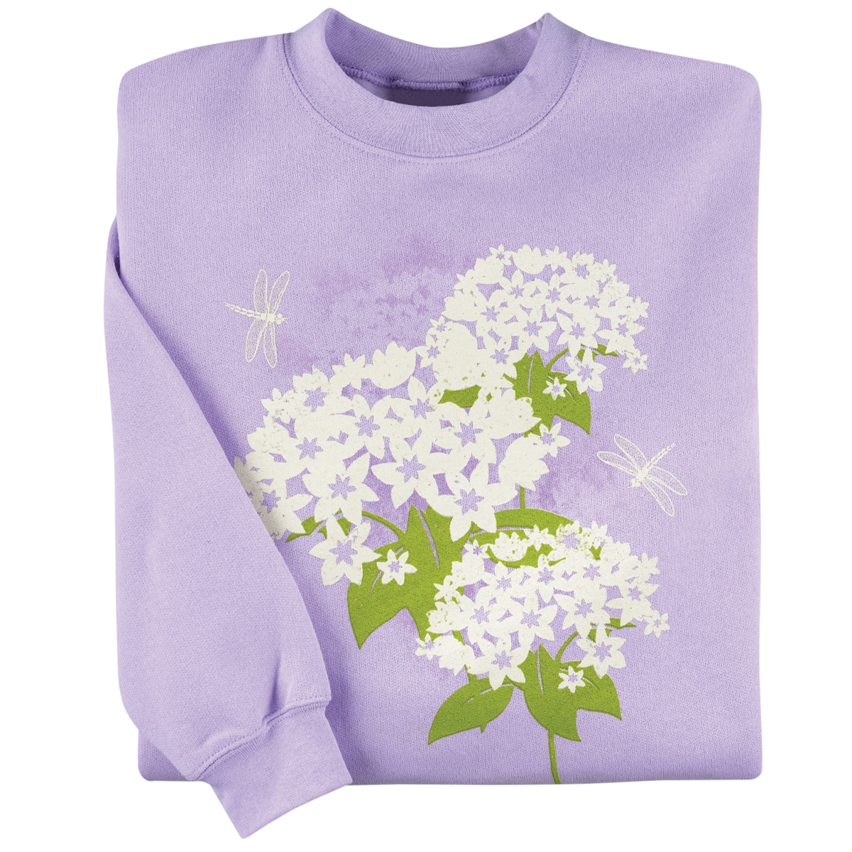 Dragonfly and Hydrangea Pullover