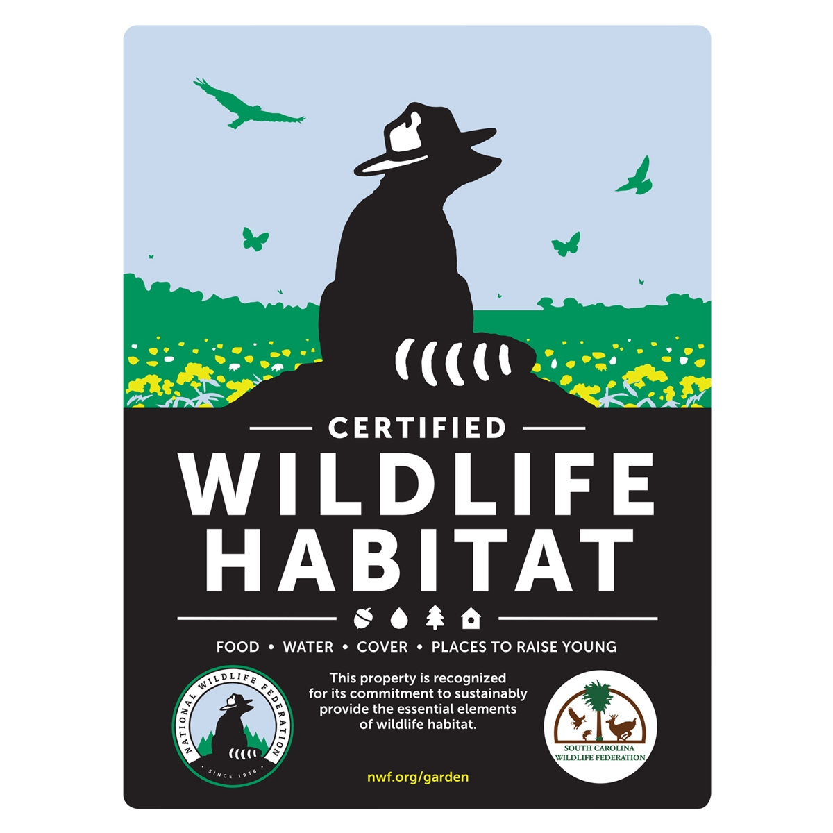 South Carolina Wildlife Federation Certified Wildlife Habitat Sign
