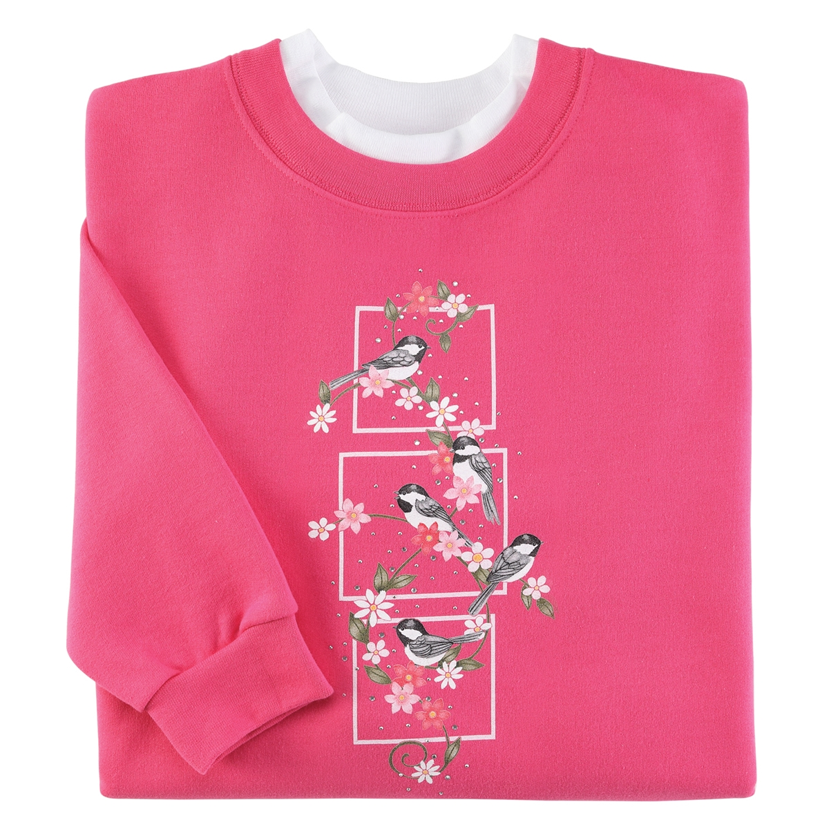 Chickadee Floral Pullover