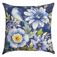 Bluebird Floral Pillow