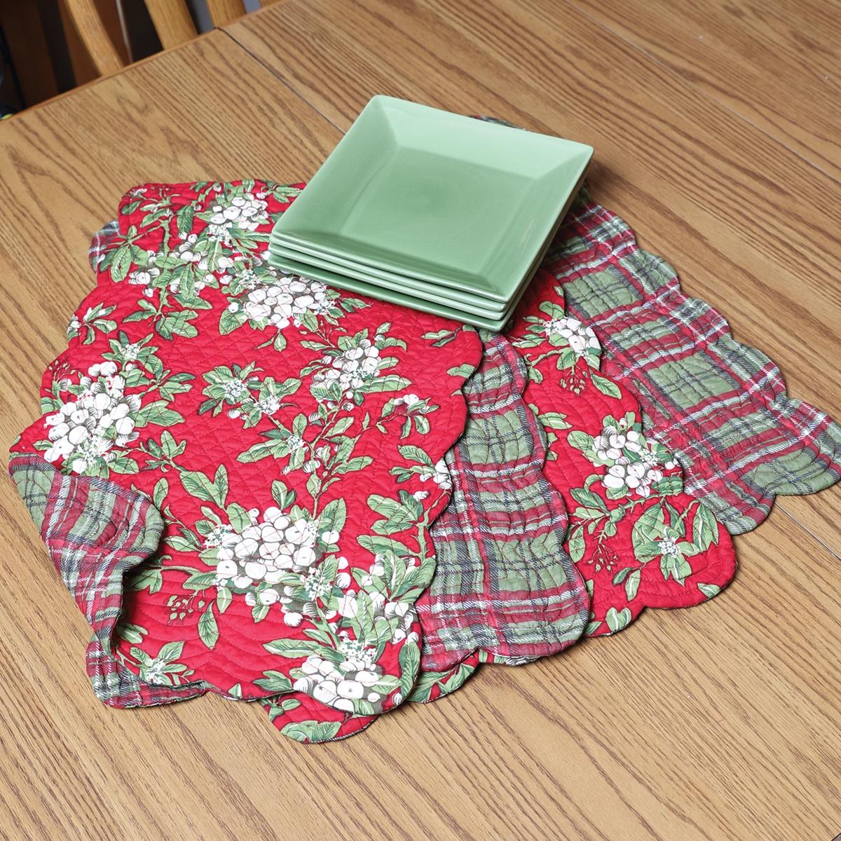 Mistletoe & Plaid Placemats Set