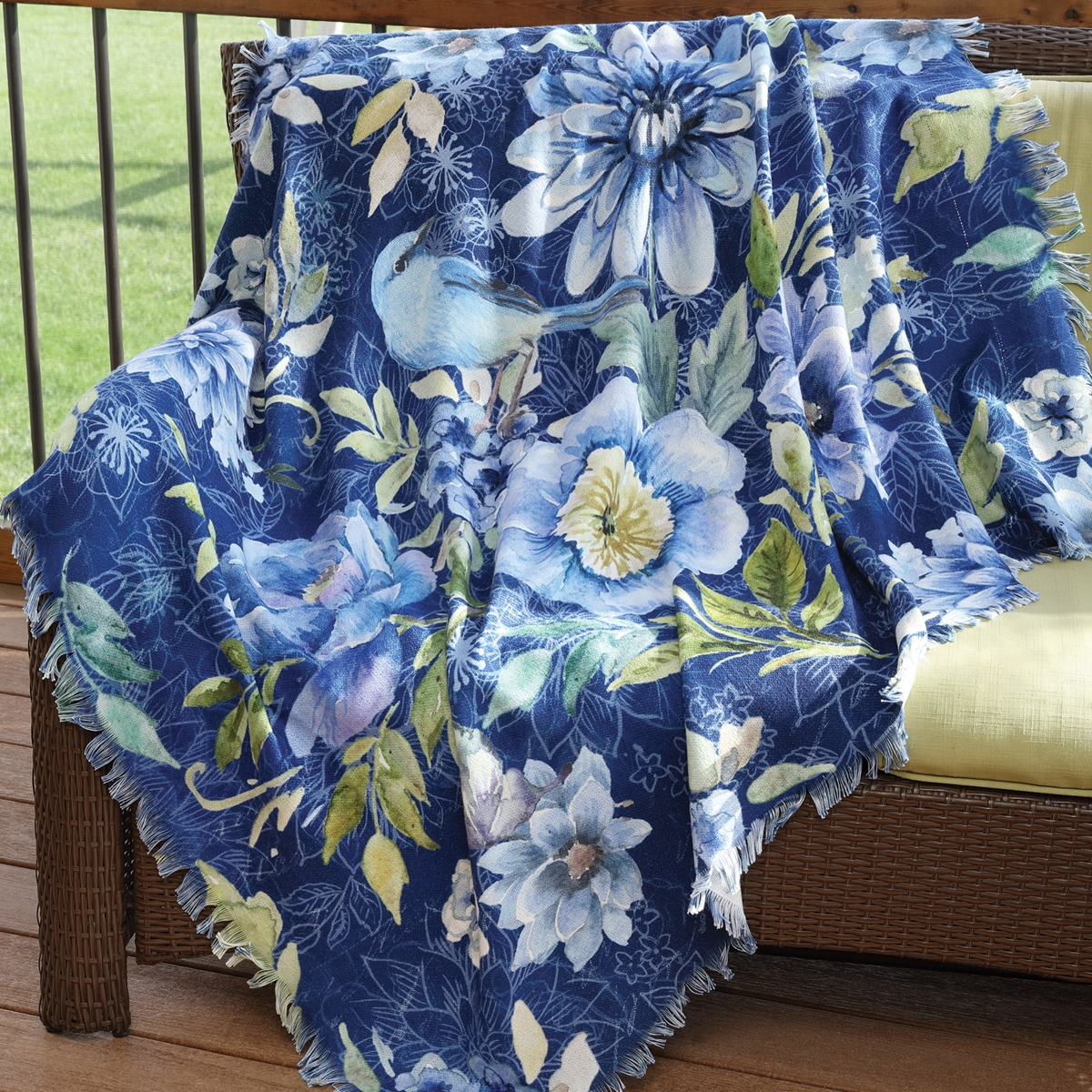Bluebird Floral Throw