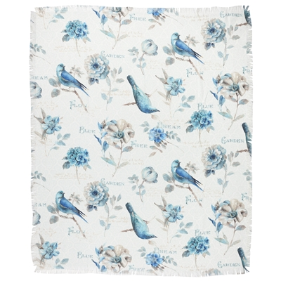 Blue Birds Jacquard Throw