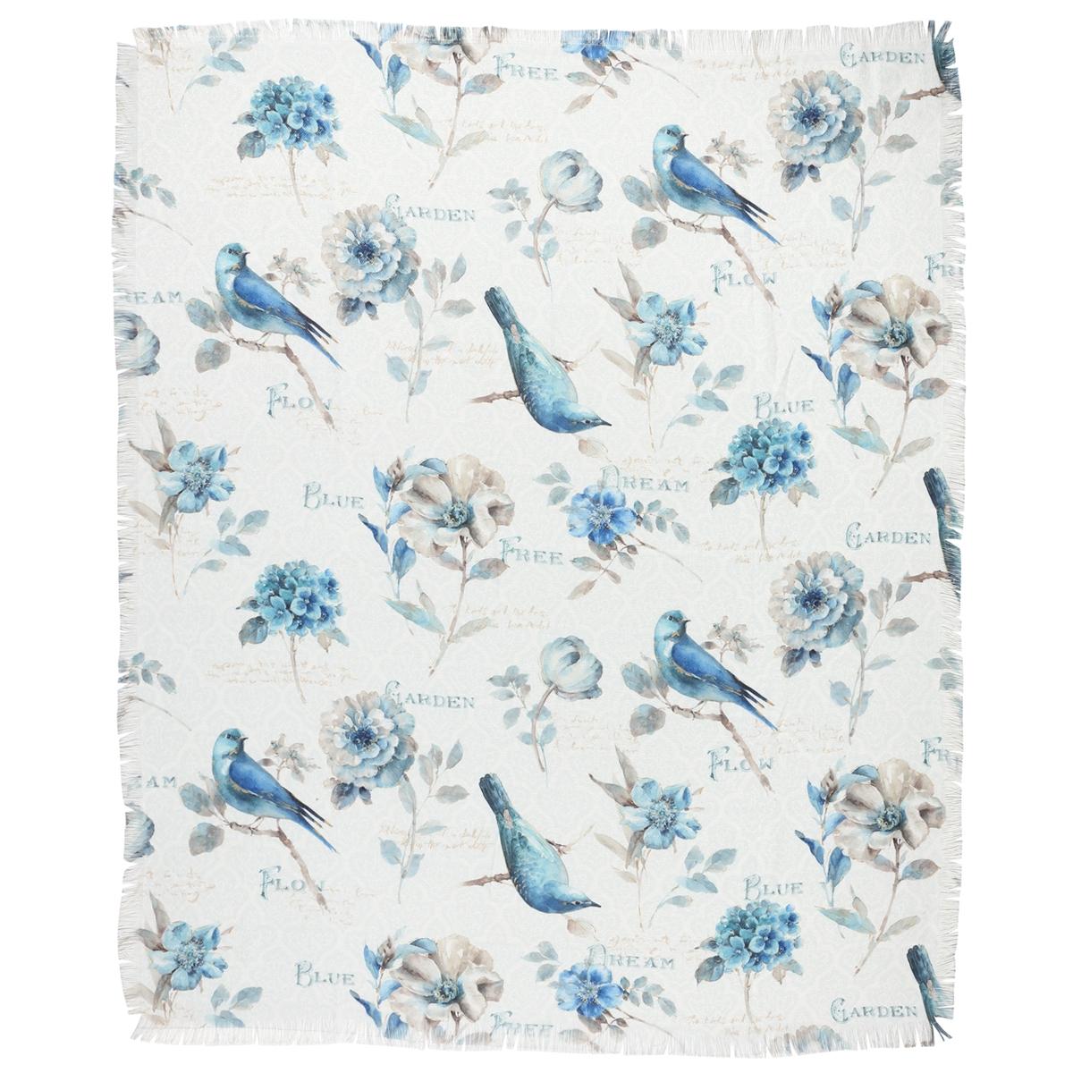 Blue Birds Jacquard Throw