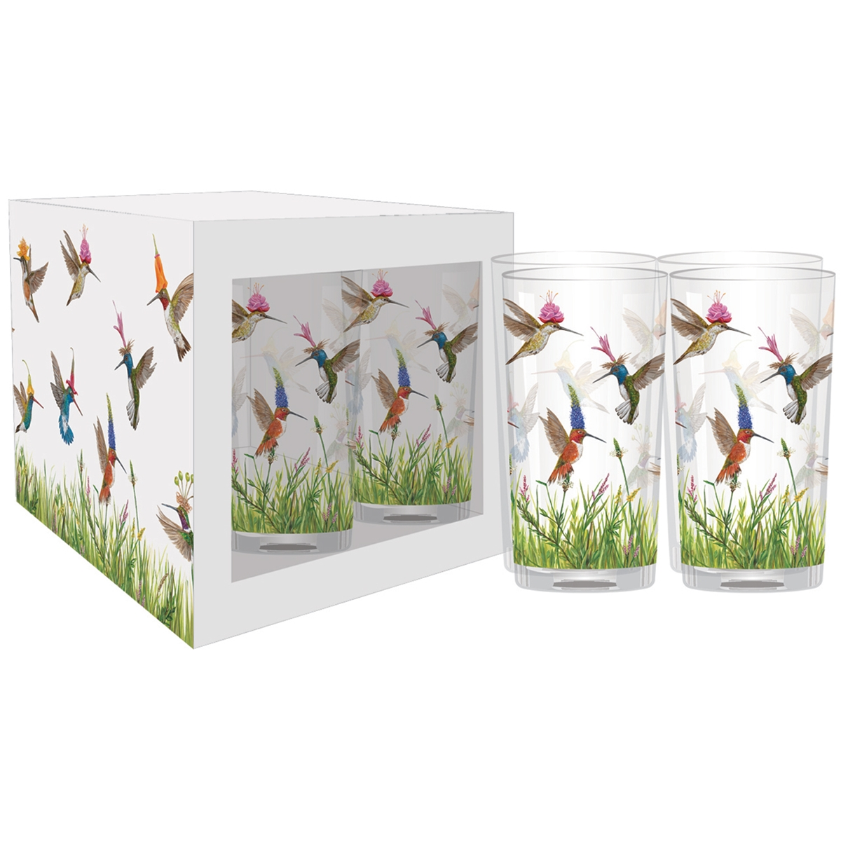 Hummingbird Frenzy Glass Set