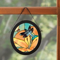 Dragonfly and Lilies Stained Glass Art
