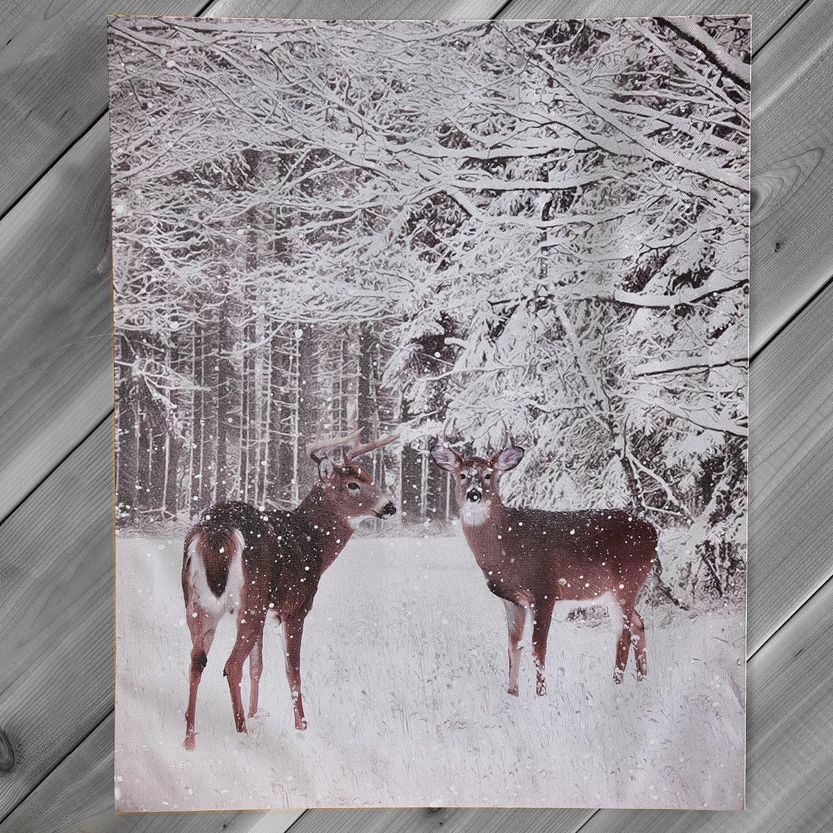 Deer LED-Lighted Canvas
