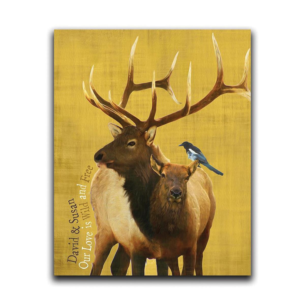Wildlife Series Elk Personalized Wall Art