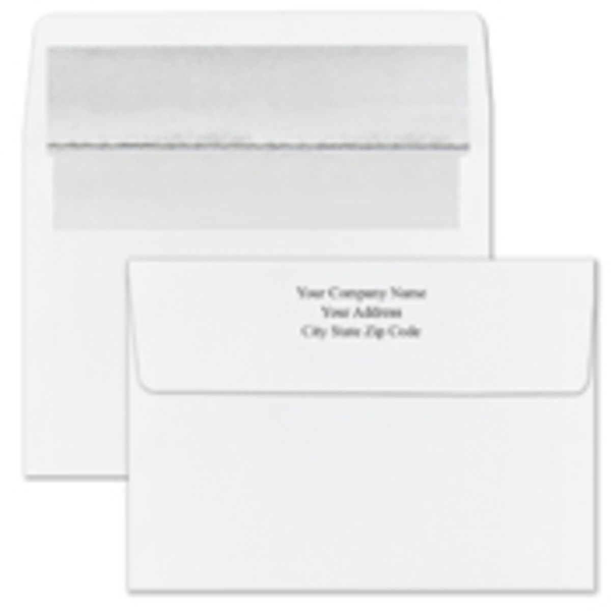 Recycled Shiny Silver Foil Lined White Envelope - Printed
