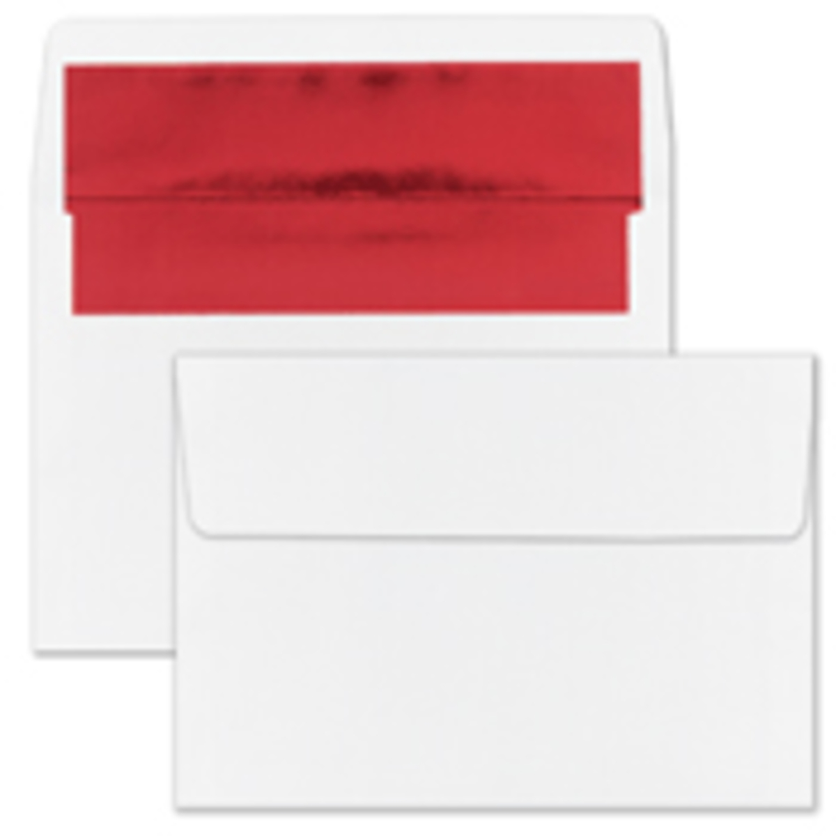 Recycled Shiny Red Foil Lined White Envelope - Blank