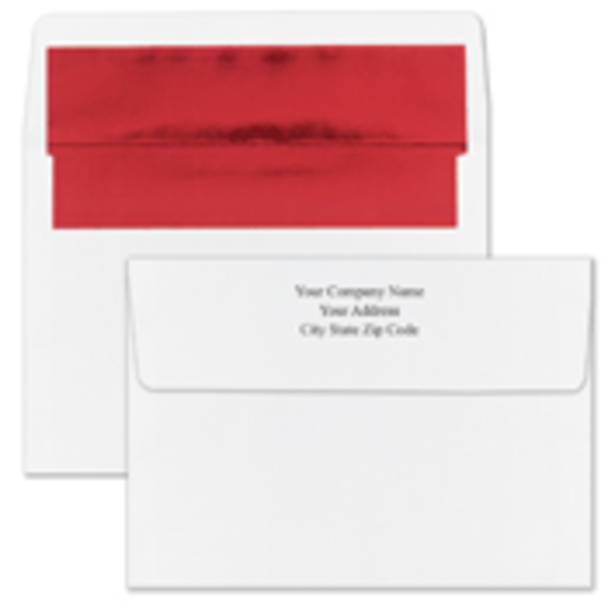 Recycled Shiny Red Foil Lined White Envelope - Printed