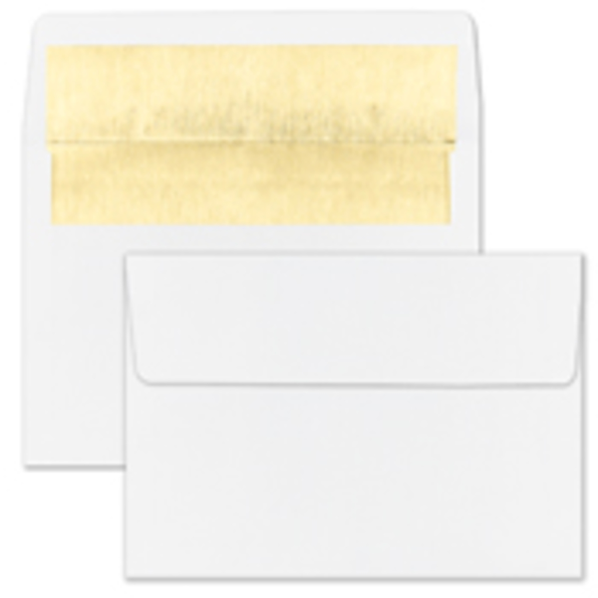 Recycled Shiny Gold Foil Lined White Envelope - Blank