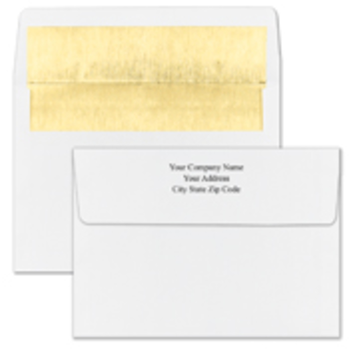 Recycled Shiny Gold Foil Lined White Envelope - Printed