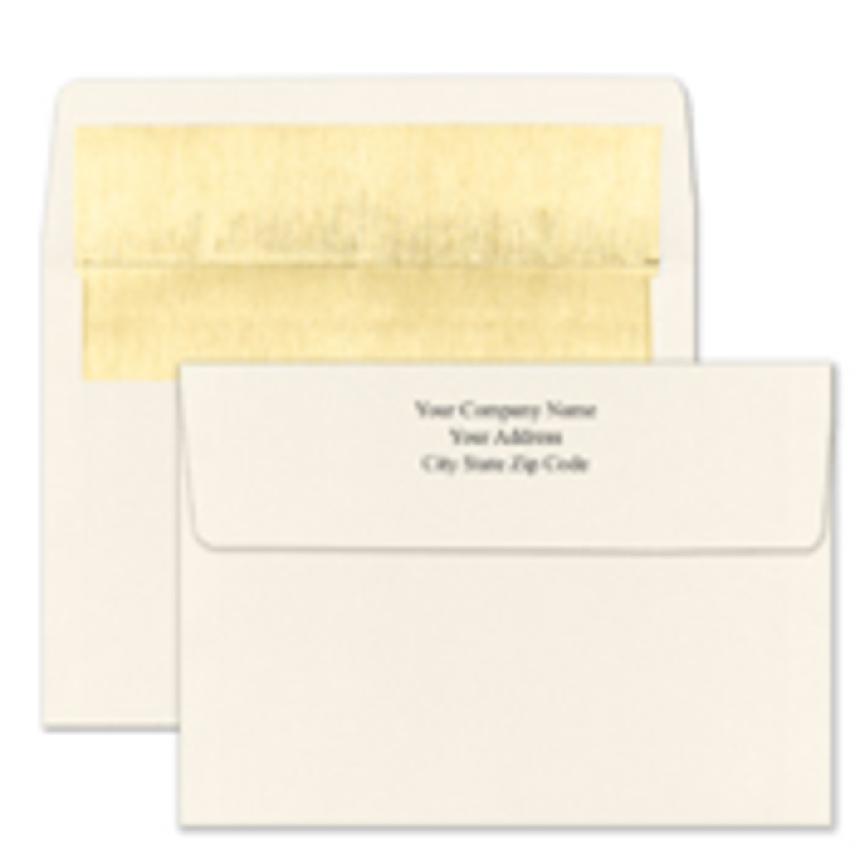 Recycled Shiny Gold Foil Lined Ecru Envelope - Printed