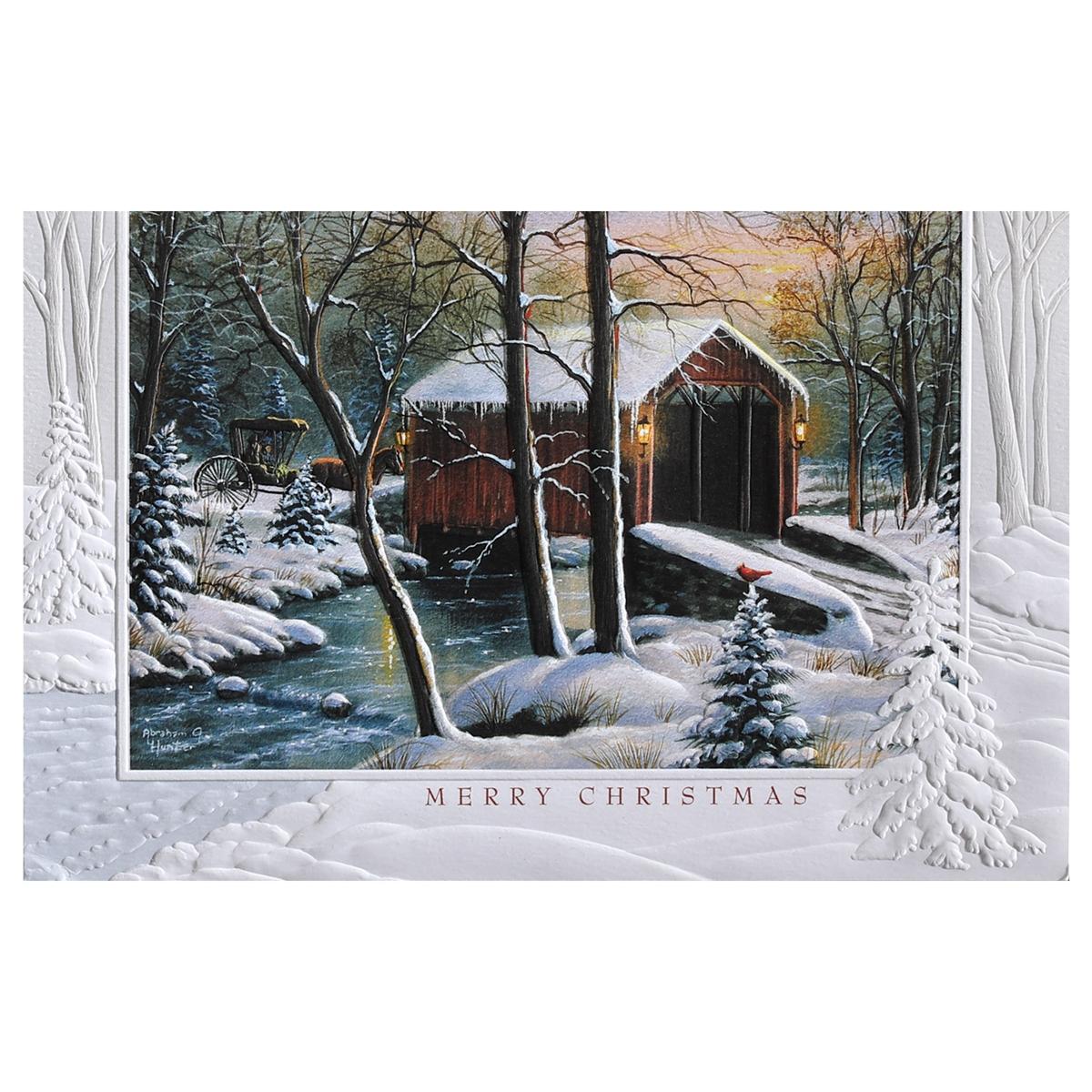 Winter Covered Bridge Card