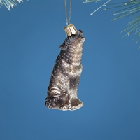 Vintage Howling Wolf Glass Ornament
