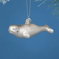 Beluga Whale Glass Ornament