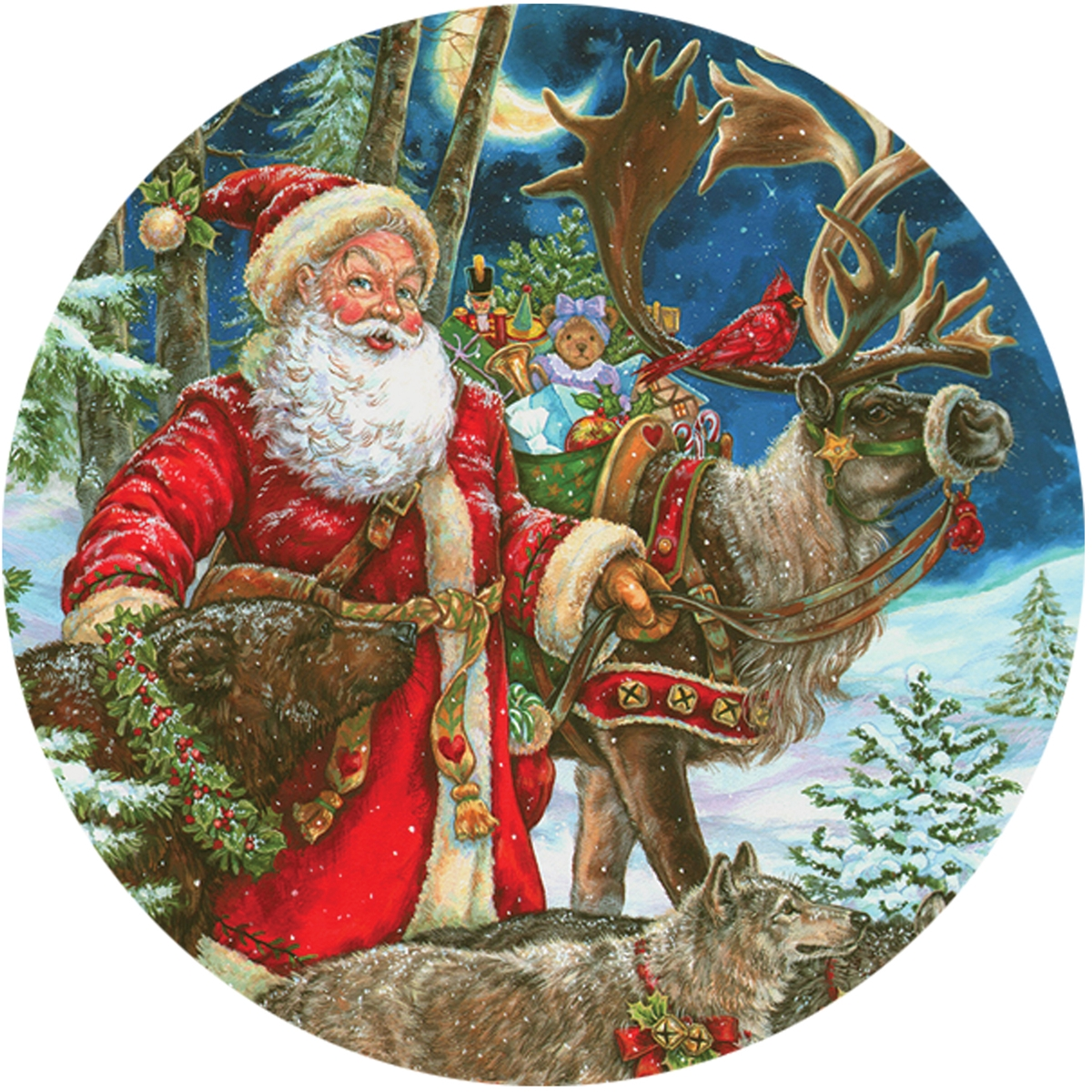 Scandinavian Santa and Animals Envelope Seal