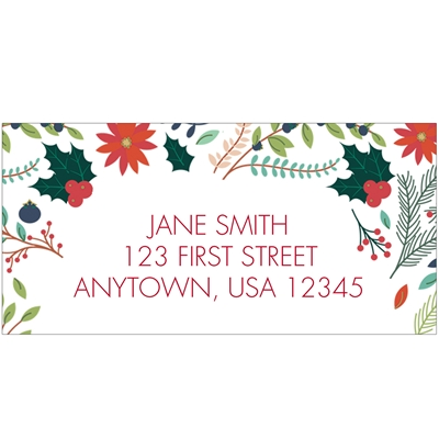 Happy Holidays Floral Address Label