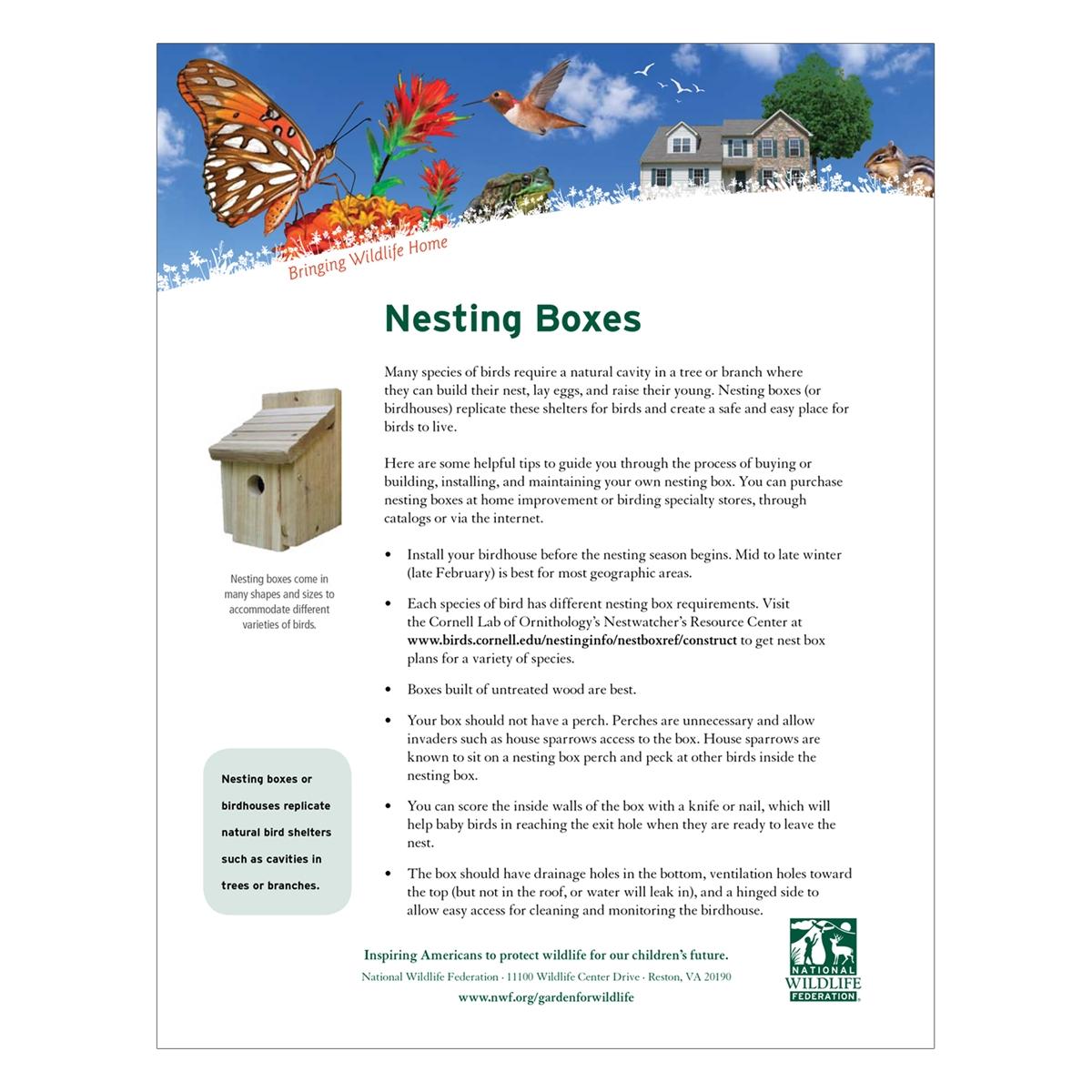 Nesting Boxes Tip Sheet