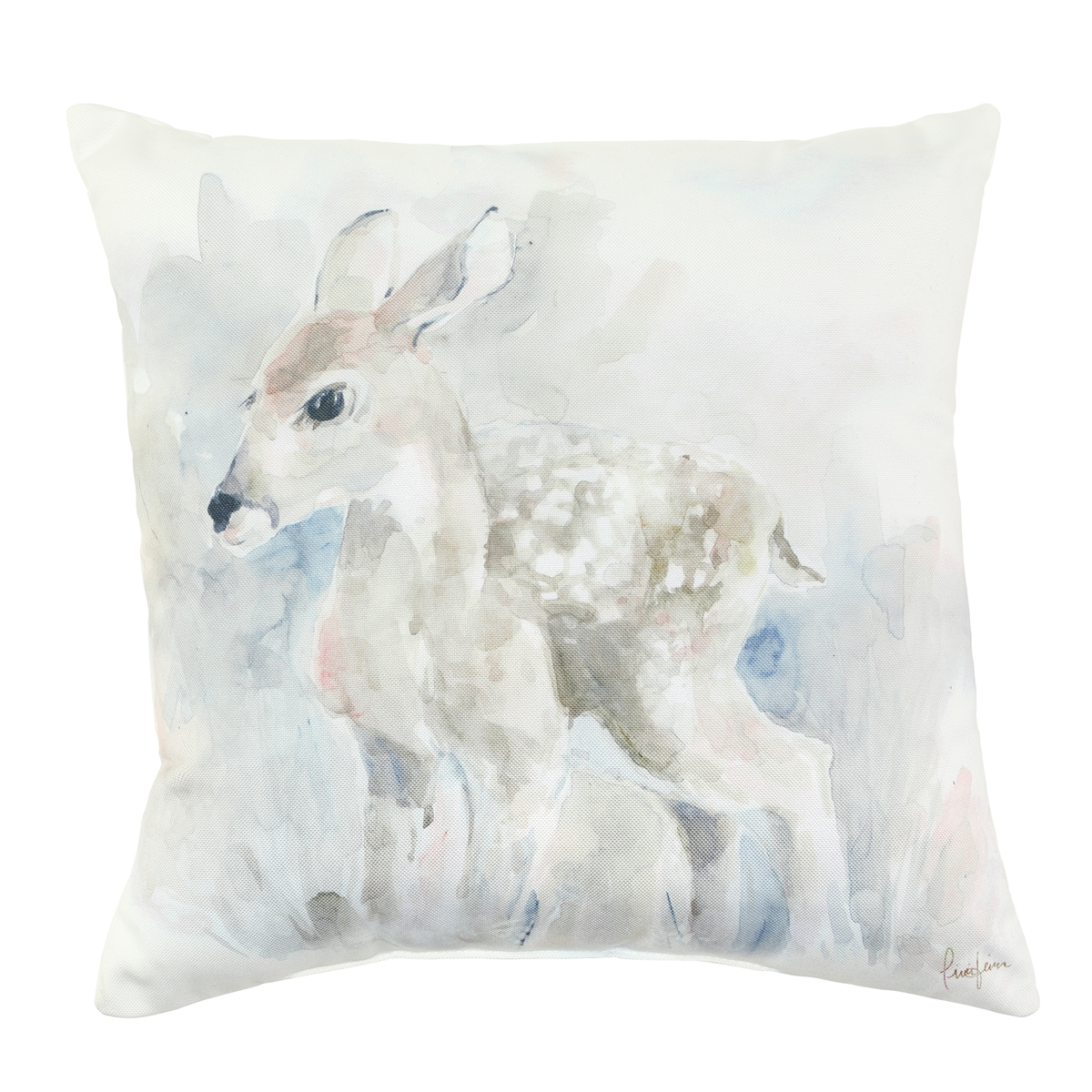 Deer Watercolor Pillow