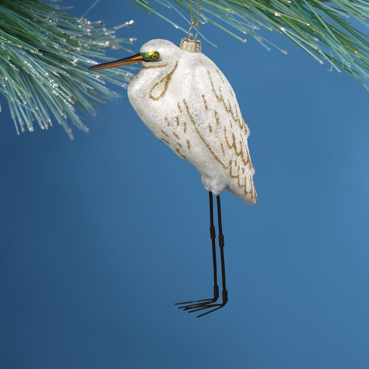 White Egret Glass Ornament