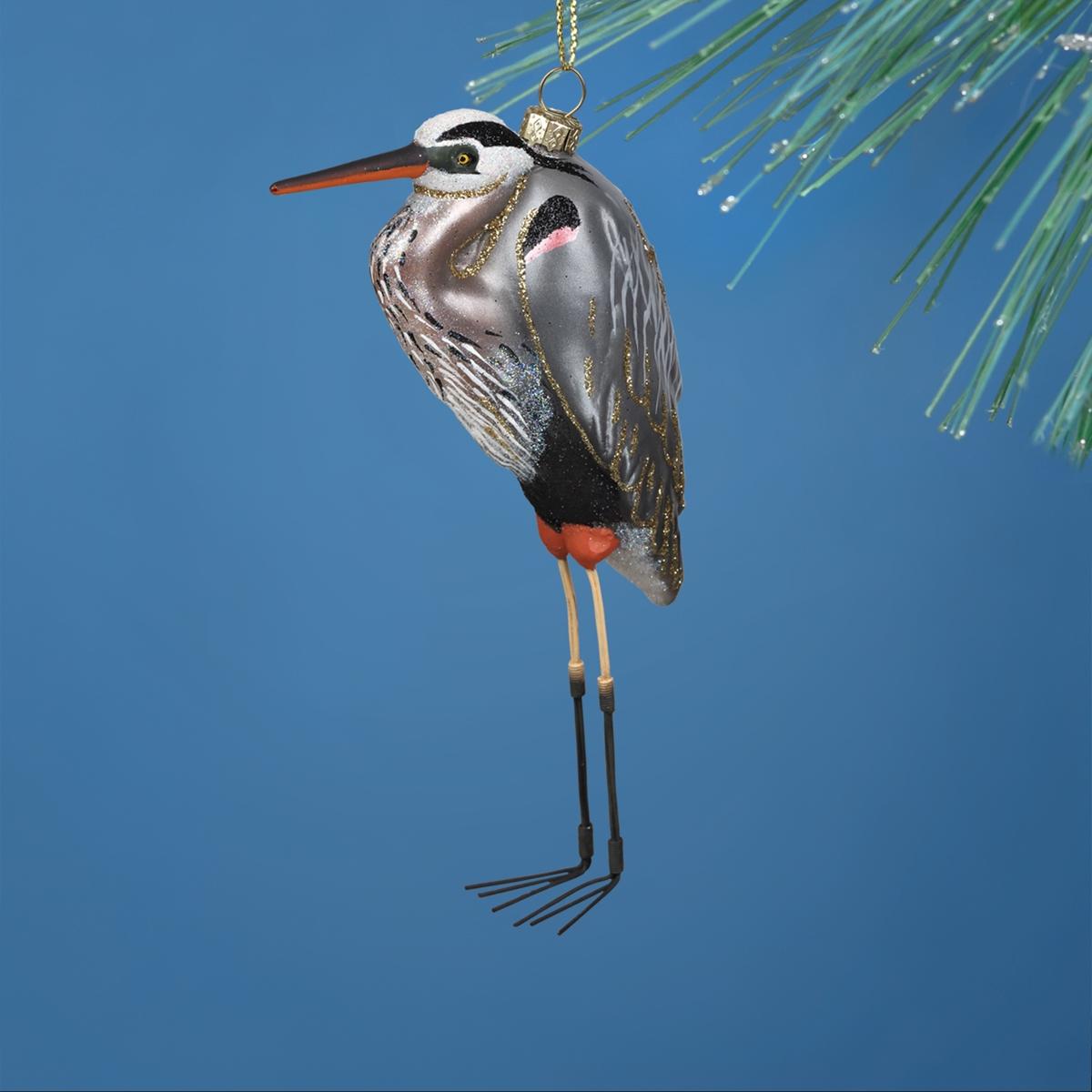 Blue Heron Glass Ornament