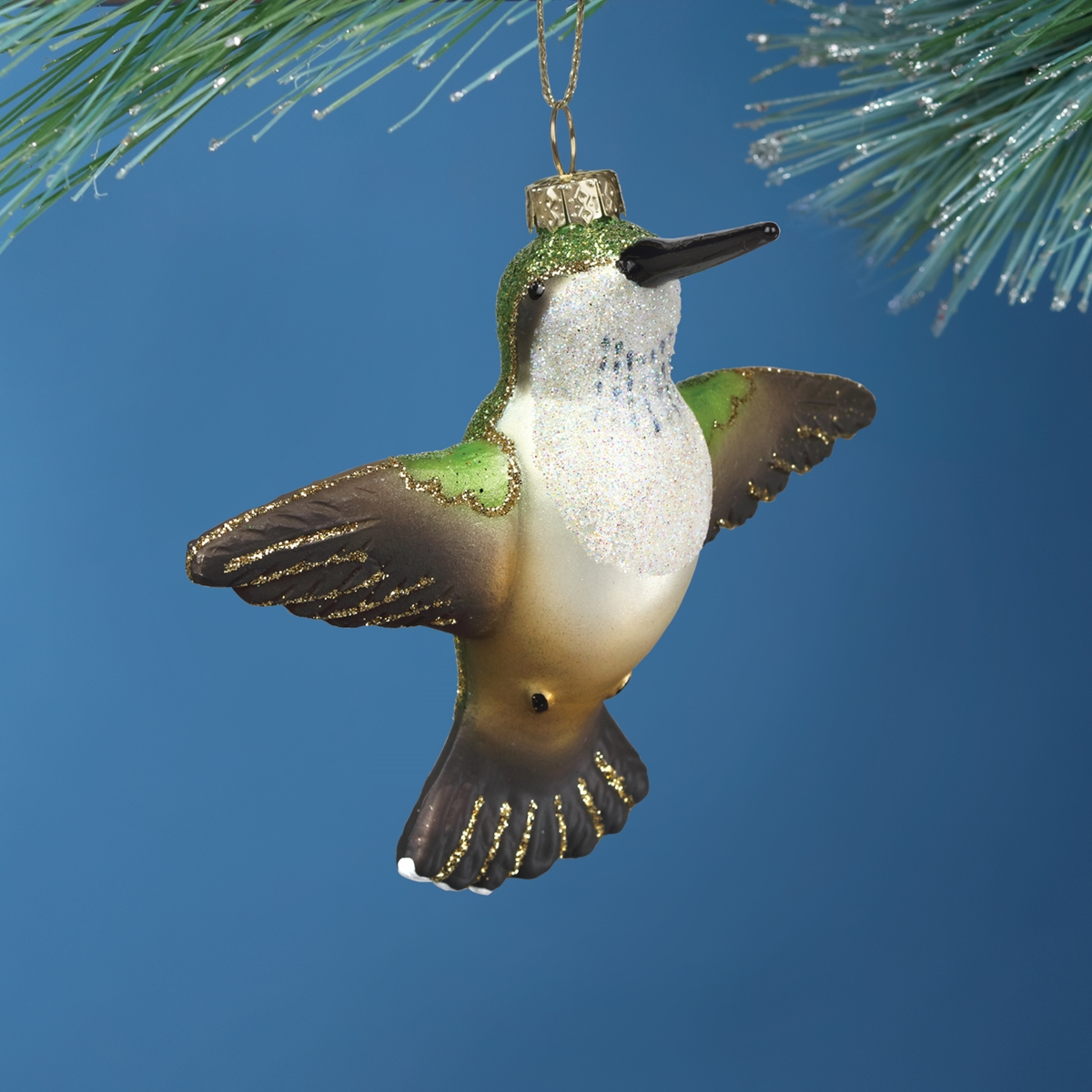 Flying Ruby Throated Hummingbird Glass Ornament