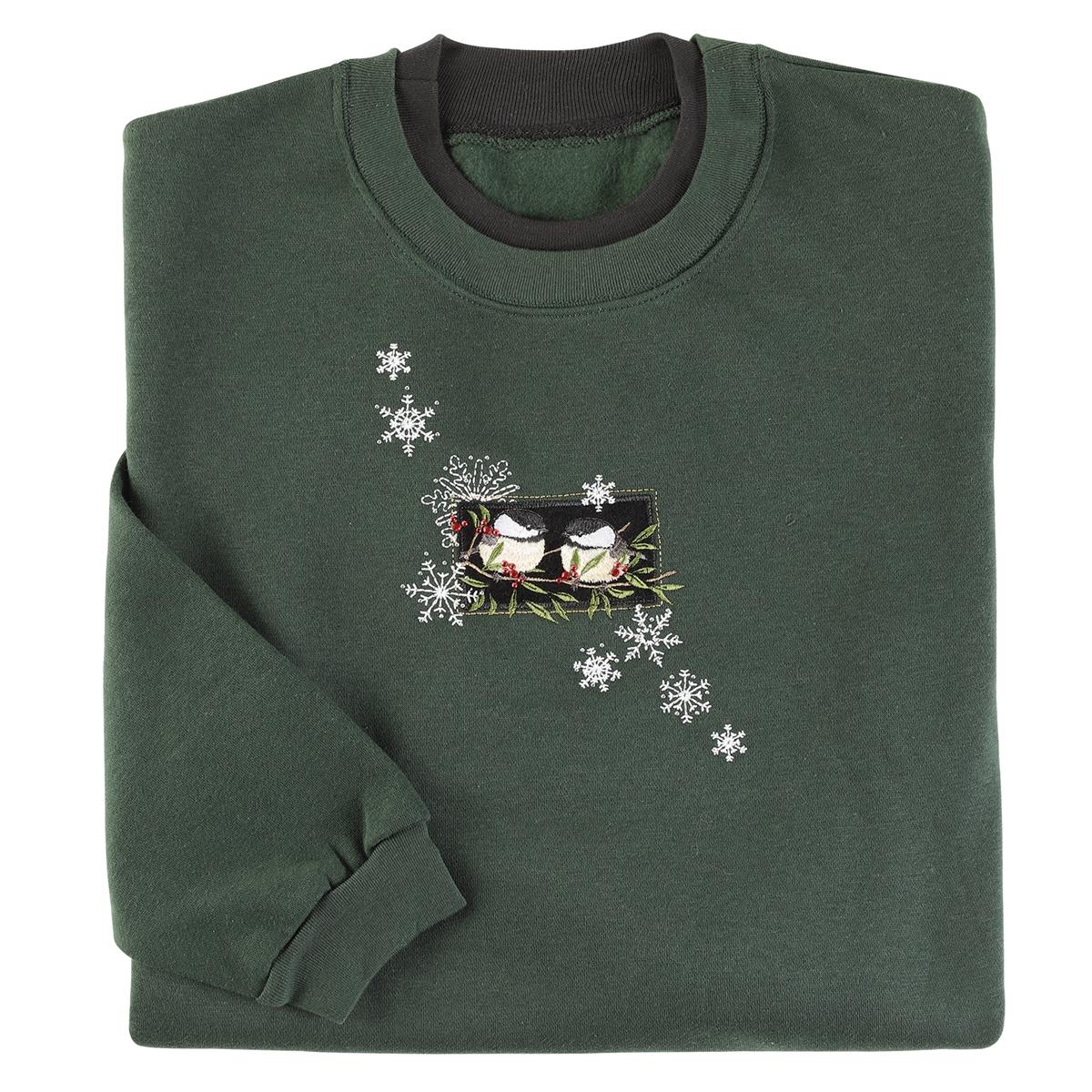 Snowy Velvet Chickadee Pullover