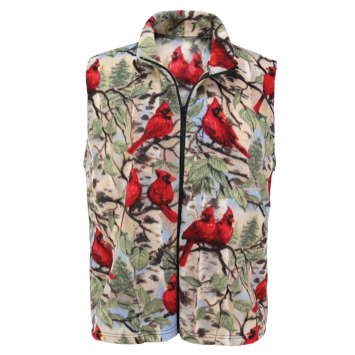 Cardinal and Birch Fleece Vest