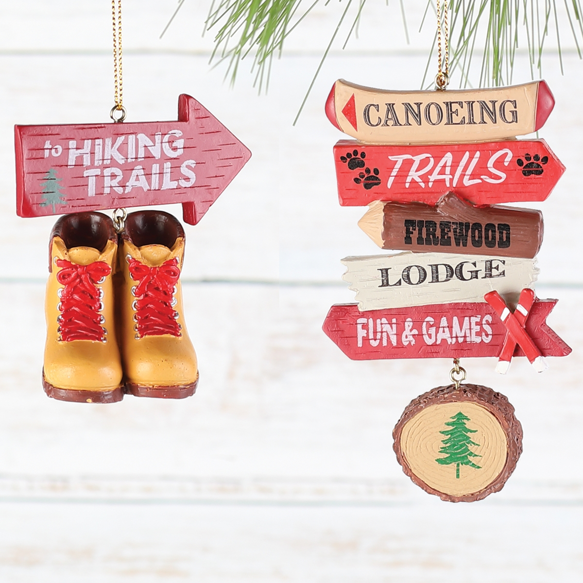 Hiking and Canoeing Ornament