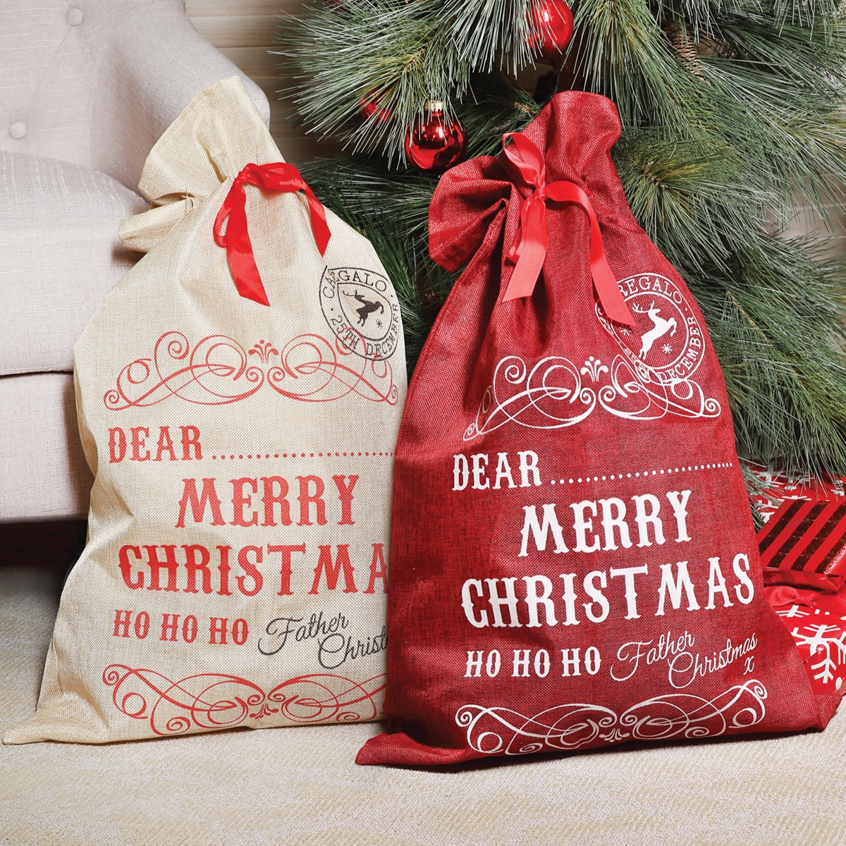 Jute Drawstring Christmas Bag Set