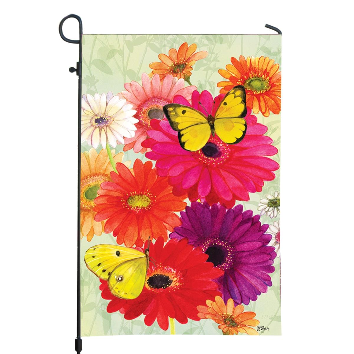 Gerberas and Butterflies Garden Flag