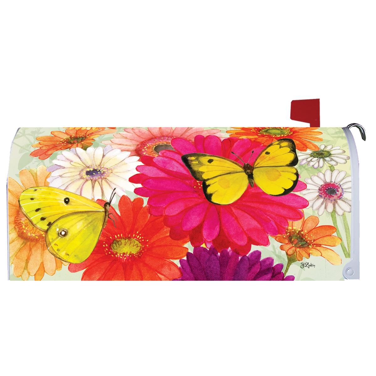 Gerberas and Butterflies Mailbox Cover